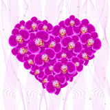 Orchid flowers in the form of a heart. Royalty Free Stock Photography