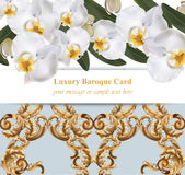 Orchid flowers with ornaments card. banner poster realistic background Vector illustration. Orchid flowers card banner poster realistic background Vector Stock Images