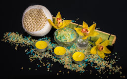 Orchid flowers, sea salt, candles and objects for SPA Royalty Free Stock Image