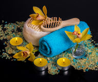 Orchid flowers, sea salt, candles and objects for SPA Royalty Free Stock Images