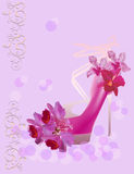 Orchid flowers and shoe on pink background Royalty Free Stock Photography