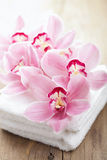 Orchid flowers and towels for spa Stock Photography