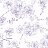 Orchid flowers on white background. Light puple contour. Seamless floral pattern. Watercolor painting. Hand drawn illustration. Can be used as a background vector illustration