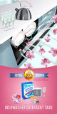 Orchid fragrance dishwasher detergent tabs ads. Vector realistic Illustration with dishwasher in kitchen counter and detergent pac Stock Photo