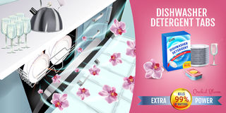 Orchid fragrance dishwasher detergent tabs ads. Vector realistic Illustration with dishwasher in kitchen counter and detergent pac Stock Image
