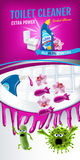 Orchid fragrance toilet cleaner ads. Cleaner bobs kill germs inside toilet bowl. Vector realistic illustration. Vertical banner. Stock Image