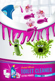 Orchid fragrance toilet cleaner ads. Cleaner bobs kill germs inside toilet bowl. Vector realistic illustration. Vertical poster. Royalty Free Stock Images