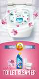 Orchid fragrance toilet cleaner gel ads. Vector realistic Illustration with top view of toilet bowl and disinfectant container. Ve Stock Photo