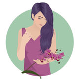 Orchid girl. Hipster girl with beautiful hair and orchid flower in her hand, vector illustration Royalty Free Stock Photography
