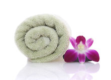 Orchid and Green Towel Royalty Free Stock Image