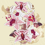 Orchid grunge composition. All elements are on separate layers - easily editable Stock Photo