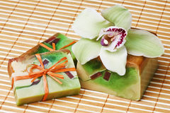 Orchid handmade soap Stock Photos