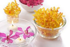 Orchid head and candle Royalty Free Stock Photography