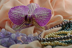 Orchid flower, jewelry and silk Stock Photography