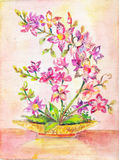 Orchid picture. Bouquet of pink flowers. indoor plant. Figure oi. L painting on canvas. poster, background, cover, screen saver. Illustration , drawing by hand Royalty Free Stock Photos