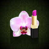 Orchid with pink lipstick Stock Images