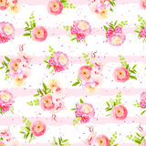 Orchid and ranunculus cute bouquets on striped background with d Stock Images