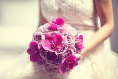 Orchid and roses wedding bouquet Royalty Free Stock Image