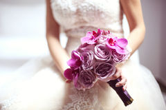 Orchid and roses wedding bouquet Royalty Free Stock Photos