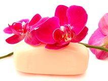 Orchid and soap Royalty Free Stock Photos
