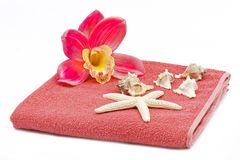 Orchid towel decoration Royalty Free Stock Image