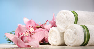 Orchid and Towel in Spa Display. Fresh Orchid and Towel in Spa Display Stock Photography