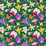 Orchid watercolor seamless pattern Royalty Free Stock Images