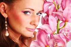 Orchid woman Stock Photos