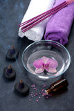 Orchid, zen stones and incense sticks. SPA. Spa, body care and aromatherapy Royalty Free Stock Photos