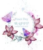 Orchidea i motyl akwareli karty wektor kwitniemy Rocznika tło z farb pluśnięciami Modny ultrafioletowy royalty ilustracja