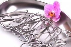 Orchidea na chirurgicznie instrumentach fotografia stock