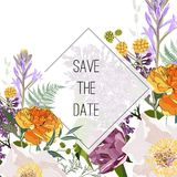Wild flowers bouquet elegant card template. Floral poster, invite. stock illustration