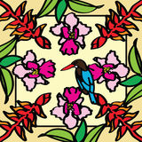 Orchidea, uccello del paradiso e martin pescatore fotografia stock libera da diritti