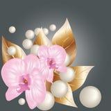 Orchideeën en parels. Royalty-vrije Stock Afbeelding
