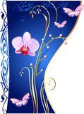 Orchideeën en vlinders royalty-vrije illustratie