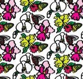 Orchideeën en Vlinders Naadloos Patroon royalty-vrije illustratie