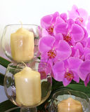 Orchidee & candele immagine stock