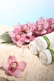 Orchidee en Handdoek in de Vertoning van het Kuuroord Royalty-vrije Stock Fotografie