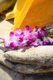 Orchidee in hand beeld van buddh Stock Fotografie