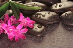 Orchidee hete stenen op lei Stock Afbeeldingen