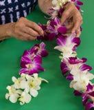 Orchidee Lei die Hawaï maken Royalty-vrije Stock Foto's