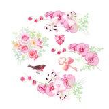 Orchidee, Lilie und rosafarbener Blumenstraußvektor entwerfen Gegenstände Bullfinch, lizenzfreie abbildung