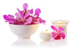 Orchidee met kaars Royalty-vrije Stock Foto