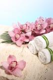 Orchidee und Tuch in der Badekurort-Bildschirmanzeige Lizenzfreie Stockfotografie
