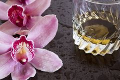 Orchidee und wisky Lizenzfreie Stockbilder