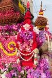 Orchideen-Blumendekoration vom Blumen-Festival, Thailand Lizenzfreie Stockfotos