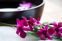 Orchideen in der Badekurorteinstellung Lizenzfreies Stockbild