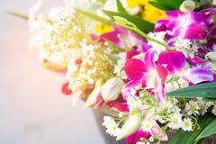 Orchideenblume Buddha die buddhistischen Tradition Blumenangebote exp Lizenzfreie Stockfotos