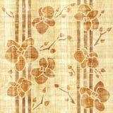 Orchideenblume - nahtloser Hintergrund - Papyrusbeschaffenheit lizenzfreie abbildung
