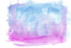 Orchideenfuchsie und cyan-blauer Cerulean mischten horizontalen Steigungshintergrund des Aquarells Es ` s nützlich für Grußkarten Vektor Abbildung